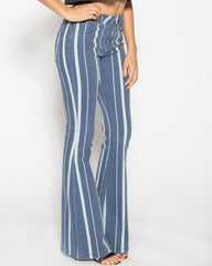 WENS Apparel Jane Flare Denim Jean in color Striped Indigo