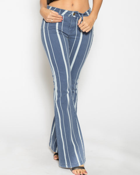 Jane Flare- Striped Indigo