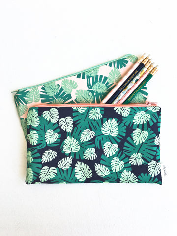 Monstera Leaf Zipper Pouches
