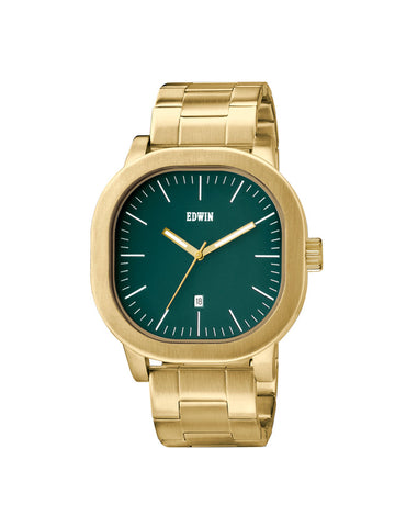 Edwin Watch, ANDERSON Gold-Tone Stainless Steel 3-Hand Date Watch