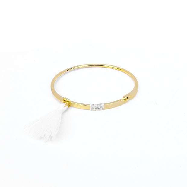Bangle Pompon Blanc - Or - Bijoux Majolie