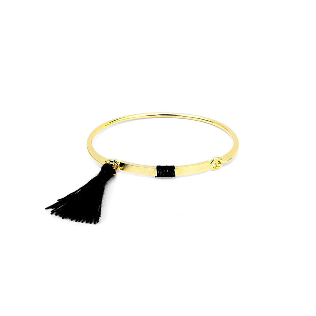 Bangle Pompon Noir - Or - Bijoux Majolie