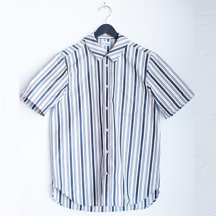 Short Sleeve Button Down - Black/White Stripe