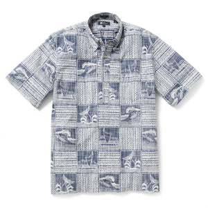 Reyn Spooner Oceans Playground Classic Fit Pullover Shirt in TWILIGHT BLUE