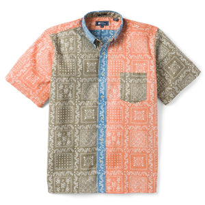 Reyn Spooner Original Lahaina Colorblock Classic Fit Button Front Shirt in CORIANDER