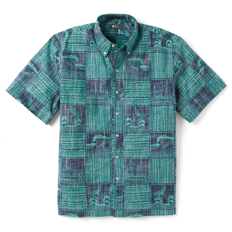 Reyn Spooner Oceans Playground Classic Fit Button Front Shirt in MEDIEVAL BLUE