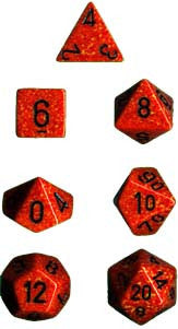 Polyhedral 7-Die Speckled Dice Set - Fire - It Came From Planet Earth  - 1
