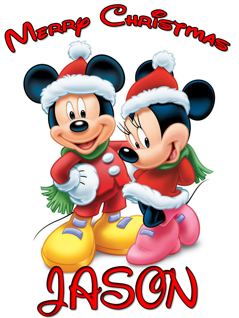 Personalized Disney Mickey Minnie Mouse Christmas T-shirt With Name Tee Shirt NEW Great Gift!