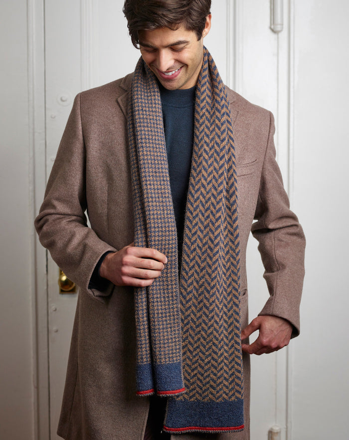 Hudson Scarf in Camel/Denim