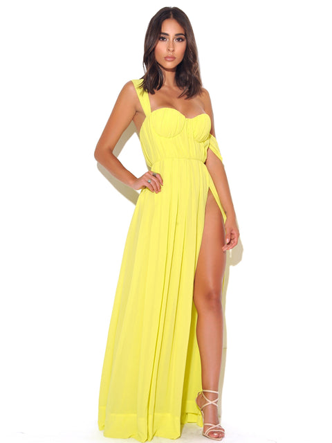 Berlyn High Slit Yellow Chiffon Maxi