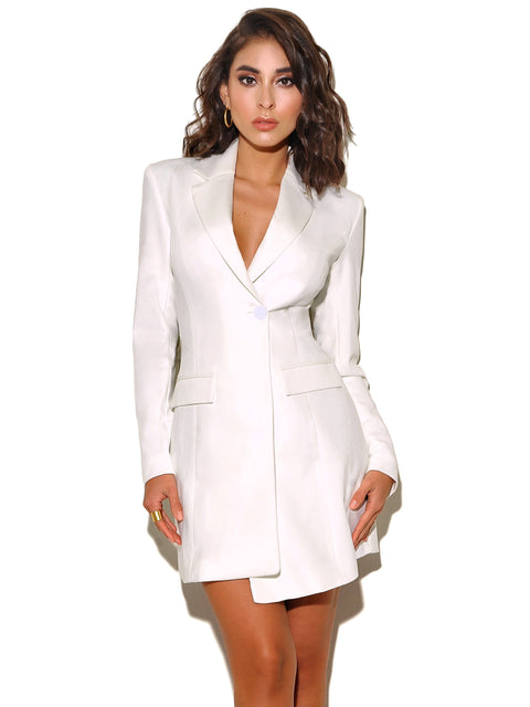 English Daisy Crepe Tailored Blazer Dress - Dress - Marsia