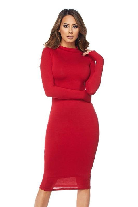 Red Sheana Midi Dress - Dress - Marsia