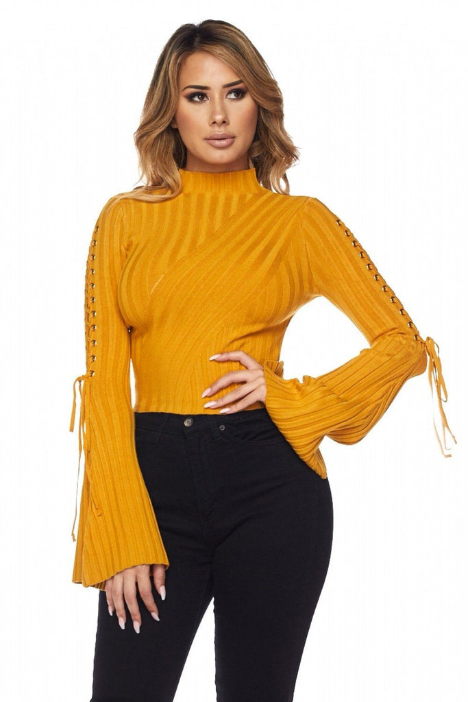 Alysah Ribbed Bell Sleeves Top - Bodysuits - Marsia