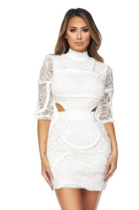 Aviana White Cut Out Dress - Dress - Marsia