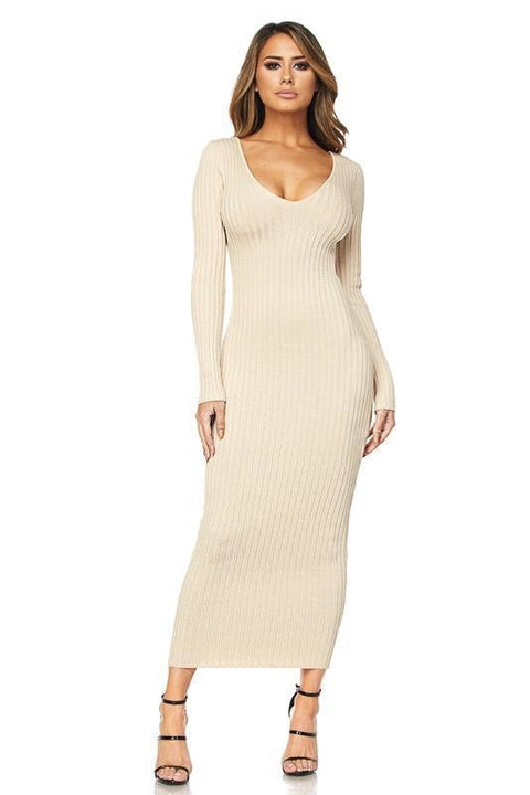 Kenya Ribbed Sweater Dress - Dress - Marsia