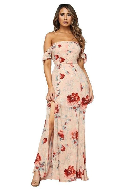 Rozie Off The Shoulder Floral Maxi Dress - Dress - Marsia
