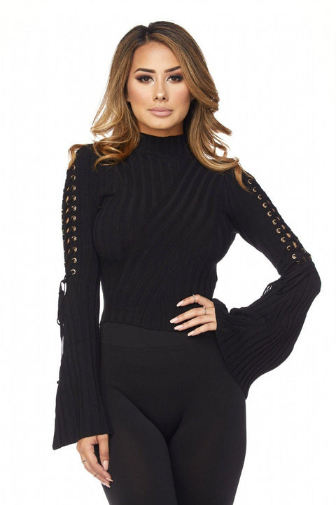 Black Alysah Ribbed Bell Sleeves Top - Bodysuits - Marsia