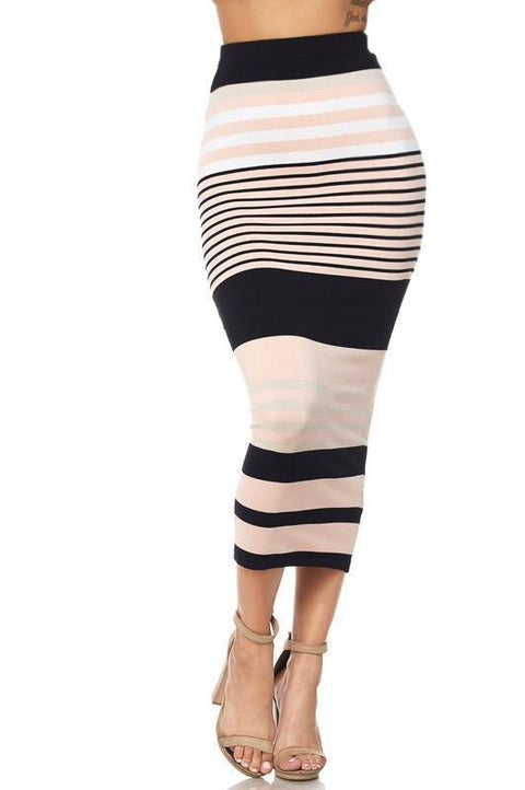 Graylee Striped Midi Skirt - Skirts - Marsia
