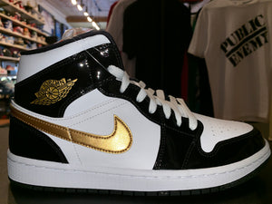 "Size 8 Air Jordan 1 Mid ""Gold Patent"" Brand New"