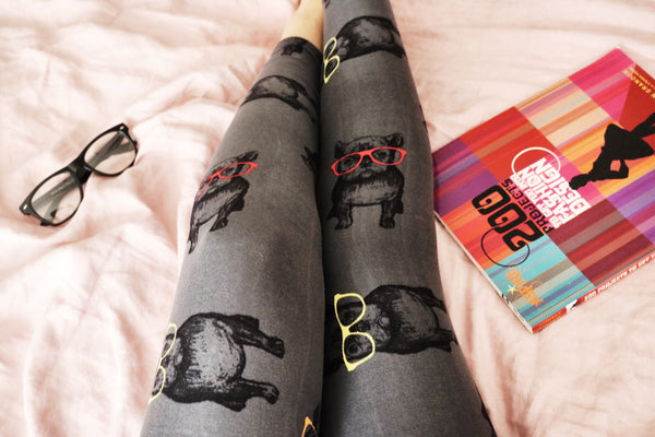 Hipster French Bulldog Print QUEEN SIZE Leggings