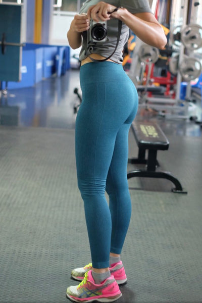 Blue Seamless Workout Waist Leggings