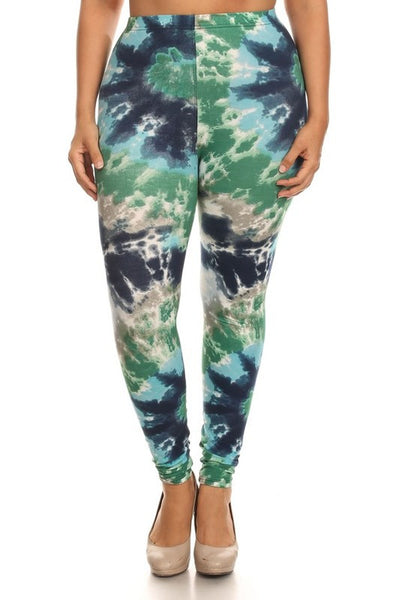 Green/Blue Tie Die Print QUEEN SIZE Leggings