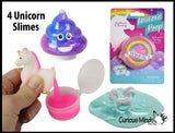 Unicorn Slime Pack of 4 - Slime Sucker Poop -  / Putty / Slime / Ooze / Poop