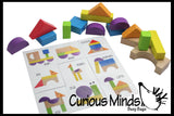Wooden Block Patterns with Silhouettes - Colorful Organic Building Blocks