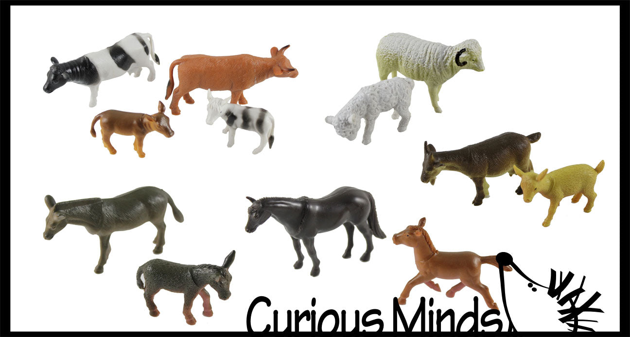 Farm Mommy and Baby Animal Figurines Replicas - Matching Game
