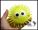 "Light Up 4.5"" Puffer Ball with Eyes -  Flashing Indoor Soft Hairy Air-Filled Sensory Toy"
