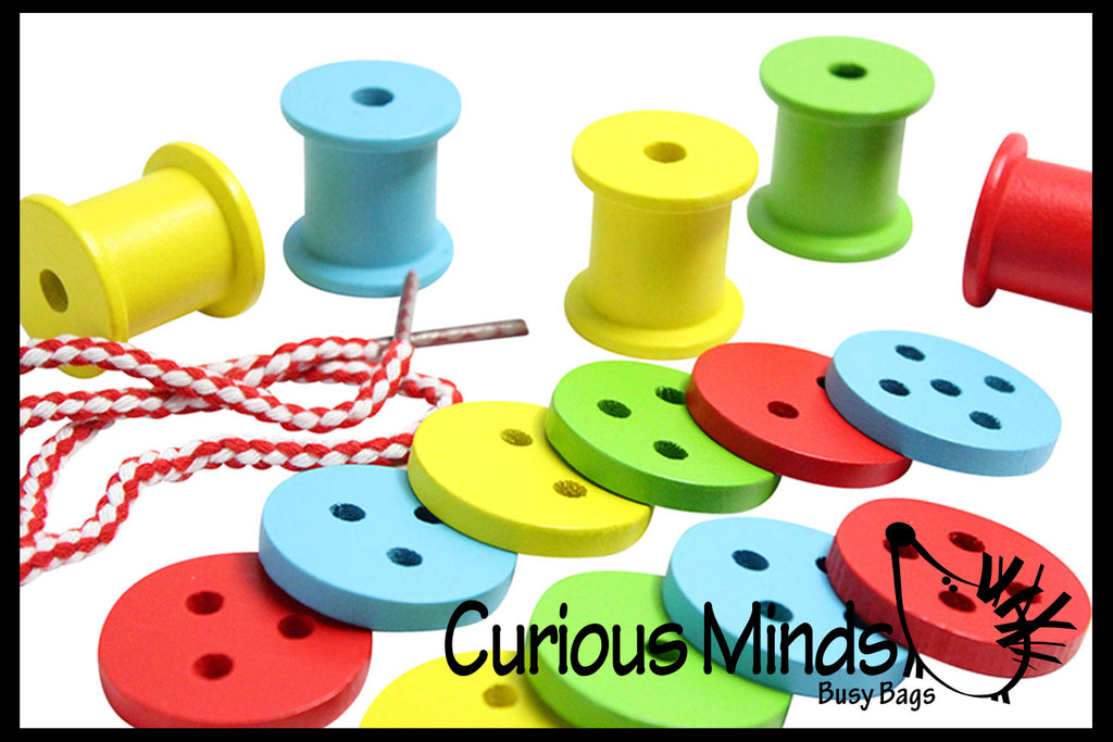 Wooden Buttons and Spools Lacing Toy - Fine Motor Wood Threading and Sorting Activity