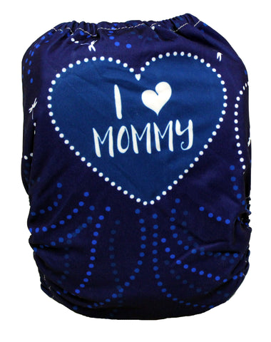 "Fluffy Penguin Pocket ""Blue I Love Mommy"""
