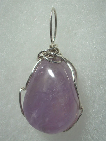 Amethyst Bead Pendant Wire Wrapped .925 Sterling Silver