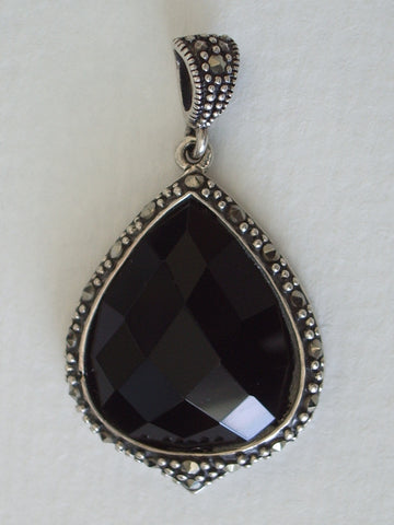 Black Onyx Jewelry - BLACK ONYX CUSHION FACETED TEARDROP PENDANT
