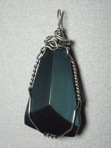 Rainbow Obsidian Pendant Wire Wrapped .925 Sterling Silver
