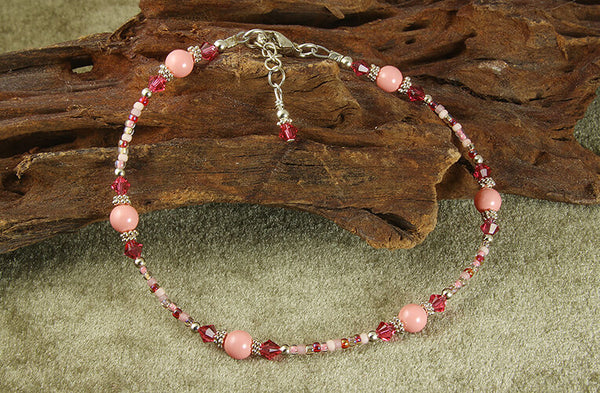 candy coral beaded anklet