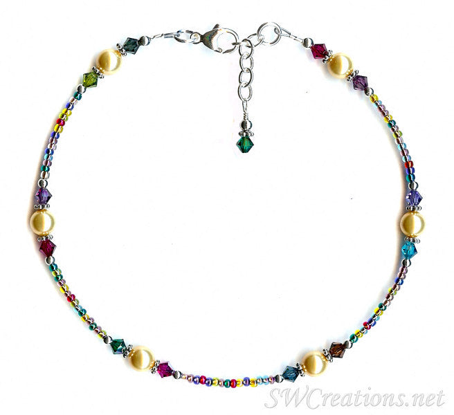 Holiday Lights Gold Pearl Crystal Anklet - SWCreations