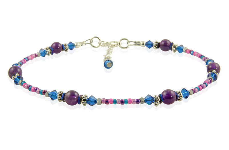 Cobalt Blue Amethyst Gemstone Anklet - SWCreations
