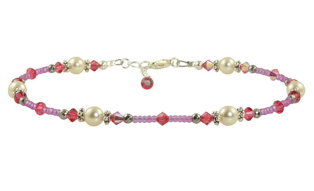 Pink Crystal Pearl Beaded Anklet