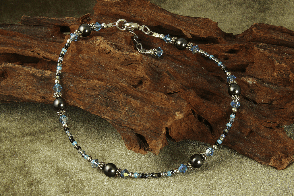 Aqua Gray Pearl Beaded Anklet