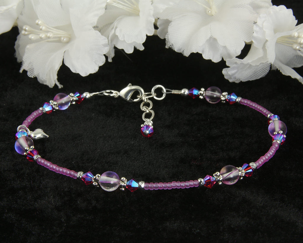 Purple Crystal Silver-Plated Anklet