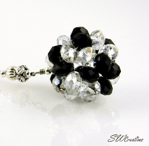 Cosmic Circle Crystal Jet Black Beaded Car Jewel - SWCreations  - 1