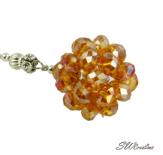 Cosmic Circle Topaz Cream Beaded Car Jewel - SWCreations  - 1