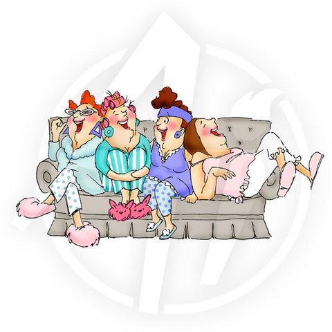 U4011 ~ Cling Stamp Girlfriends; Compfy on the Couch