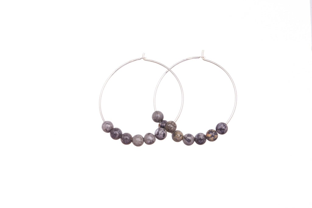 Stone Hoops | Earrings | Labradorite