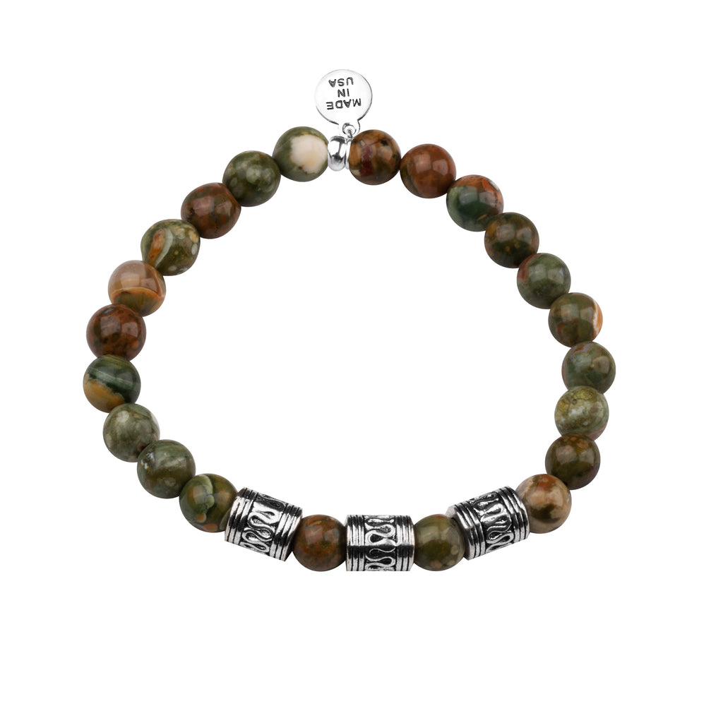 Men's -Stone Beaded Bracelet | Tribal - Camouflage Jasper Stone