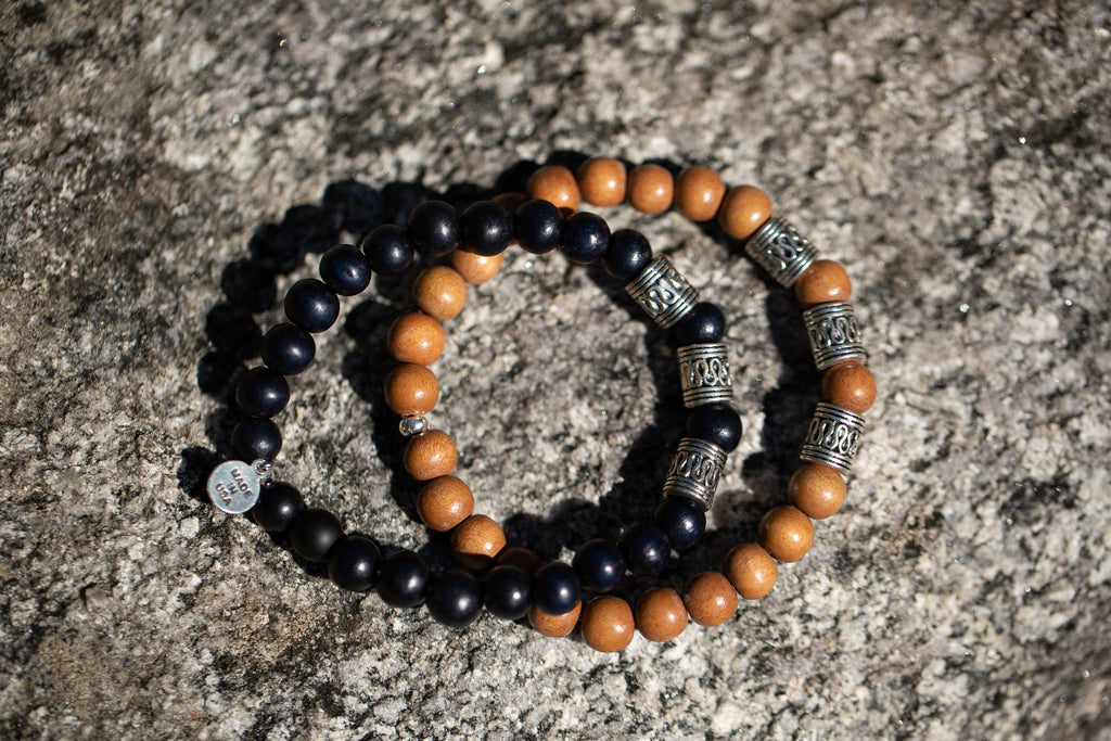 Men's -Wood Beaded Bracelet | Tribal - Black Wood