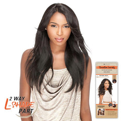 "Unprocessed Hair 2 Way ""L""-shape Part Lace Wig - NATURAL STRAIGHT"