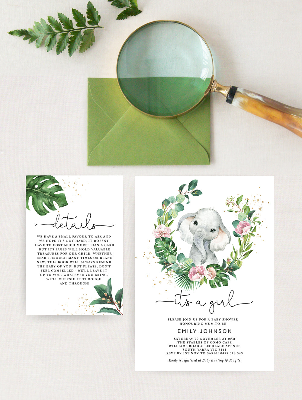 Elephant Baby Shower Invitation 2P #ELE001 Girl