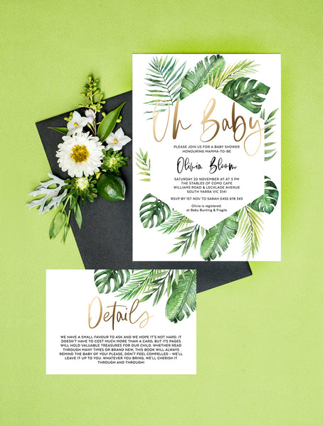 Geometric Tropical Oh Baby Shower Invitation 2P #TROP03